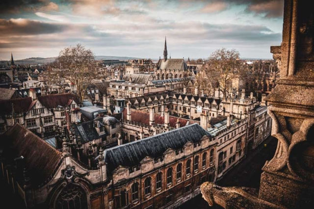 Dreaming Spires in Oxford, a rooftop view of Oxford City